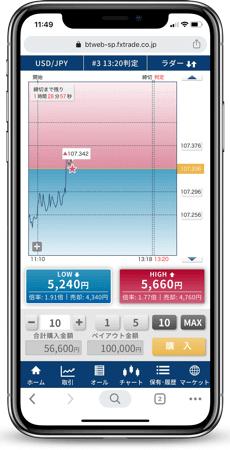 バイナリーオプションのデモ取引ができるスマホアプリ