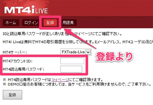 MT4iLIVEを「登録」
