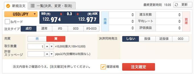 新FXネオのブラウザ取引画面での新規注文