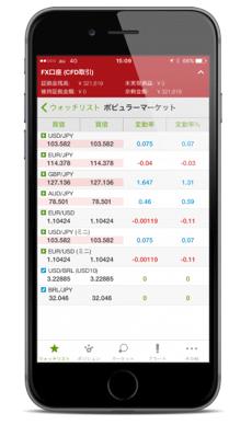 IG証券のiPhone版トレーディング・アプリ