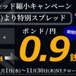 ポンド円が0.9銭!FXTF MT4が期間限定スプレッド縮小キャンペーンを開催