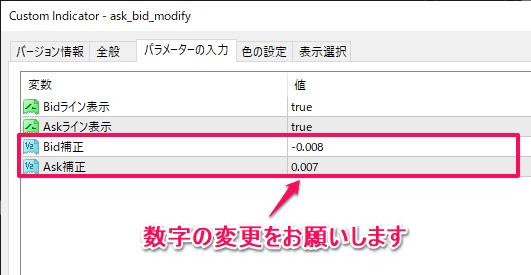 AskとBid各々±.001円単位で補正するインジケーター